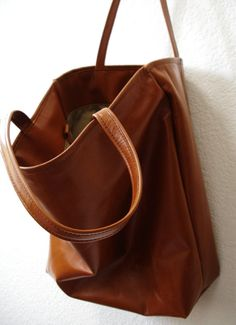 Large camel brown Leather Tote Bag oversized brown by sord ...