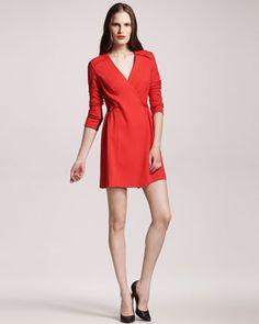 Crepe Wrap Dress - Neiman Marcus