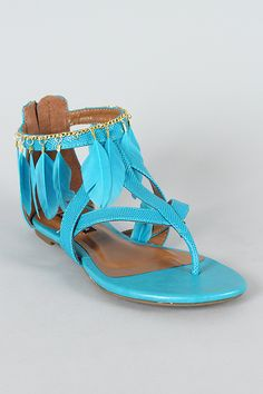 Ultima Feather Chain Thong Flat Sandal