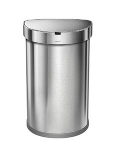 simplehuman Stainless Steel Semi-Round Sensor Can, Touch-Free Automatic Trash…