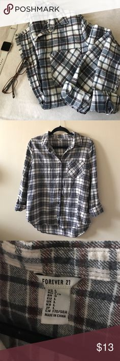 Forever 21 Flannel Shirt Great condition. only worn a handful of times. thicker material. Smoke free home! Size large but i'm a medium and i like them a little bigger. Forever 21 Tops Button Down Shirts