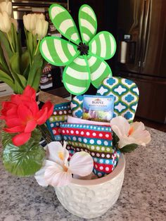 Bridal shower game prizes! Some oven mitts, pot holders, and flower seeds!