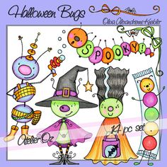 Halloween Bugs Downloadable Clip Art  Personal and by atelieroz