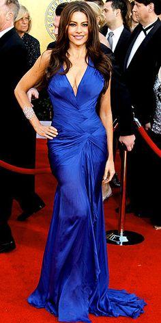 Sofia Vergara in a sapphire Cavalli gown with Chopard's 10-carat diamond earrings and a 9-carrot diamond bracelet.