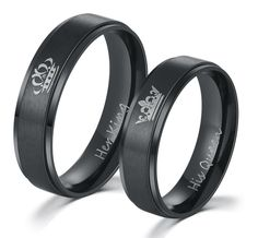 HER KING and HIS QUEEN Stainless Steel Promise Rings -  FREE WORLD SHIPPING! ⭐️ Money-Back Guarantee