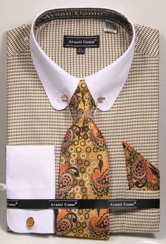 Avanti Uomo Men's French Cuff Shirt Set - Collar Bar w/ Chain Avanti Uomo Men's French Cuff Dress Shirt Set - Collar Bar w/ Chain. Pictured in Mustard.Gold Collar Bar with ChainSubtle Herringbone Jacquard PatternFrench Cuff Dress Shirt Best Dress Shirts, Dress Shirt And Tie, Pin Collar Shirt, Collar Shirts, Shirt Tie Combo, Formal Shirts For Men, French Cuff Dress Shirts, Dapper Men, Mens Fashion Suits