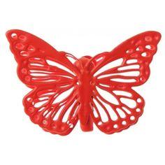 Papillon metal rouge sur pince les 4