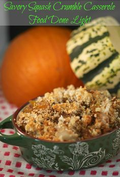 Savory Squash Crumble Casserole |  love experimenting with different types of winter squash.  I use to stick with the main ones; butternut squash and acorn squash.  Last year, I branched out with sweet dumpling squash, golden acorn and buttercup.  Woo Wee, they were all so delicious in their own way.  So I decided to pick up a few and throw them together in a casserole. | From: fooddonelight.com