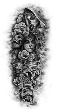 totenkopf mit rosen tattoo - junge frauen und graue totenköpfe und viele große graue rosen dragon tattoo tattoo tattoo designs tattoo for men tattoo for women tattoo tattoo tattoo tattoo tattoo tattoo tattoo tattoo ideas big dragon tattoo tattoo ideas Custom Temporary Tattoos, Custom Tattoo, Full Sleeve Tattoos, Tattoo Sleeve Designs, Day Of The Dead Tattoo Sleeve, Day Of The Dead Tattoo For Men, Full Leg Tattoos, Half Sleeve Tattoos For Guys, Female Tattoo Sleeve