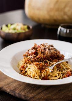 Spaghetti with Chicken Sausage and Lentil Bolognese | Kitchen Confidante