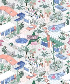 Small bathroom wallpaper Palm Springs is a soft, feminine take on Mid-century architecture and pastel hues combined with a dash of Hockney. This Designer Wallpaper oozes vacay vibes Ps Wallpaper, Bohemian Wallpaper, Spring Wallpaper, Bathroom Wallpaper, Palm Springs Map, Palm Springs Style, Flamingo Float, Flamingo Art, Conversational Prints