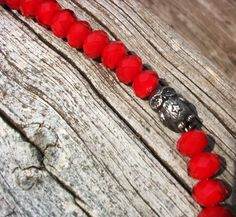 "This Sweet Pewter Owl Bead is Surrounded by Beautifully Faceted Red Velvet Glass Beads and Makes the Perfect Accessory! Pewter Owl Bead by Green Girl Studios.    Length is Approximately 16 & 3/4"" Long  Pewter Toggle Clasp.     $68.00"