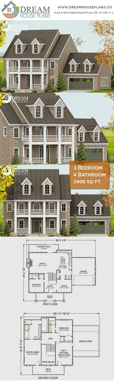 house plan with cust. - House Plans, Home Plan Designs, Floor Plans and Blueprints Open Floor House Plans, Porch House Plans, Simple House Plans, House Plans 3 Bedroom, Dream House Plans, Floor Plans, Custom Home Plans, Custom Homes, Affordable House Plans