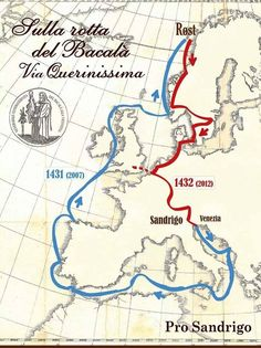 Itinerary of Pietro querini in 1432 when he went down with his ship and landet on the Island Røst in Norway. His repatriation is also included here Norway, Map, Island, Location Map, Islands, Maps