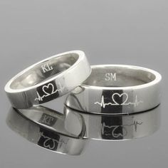 Wedding Band, Wedding Ring, Engagement Ring, Mens Ring, Mens Wedding Band, Man Wedding Ring band, men promise ring, men ring, Heartbeat Ring by JubileJewel on Etsy