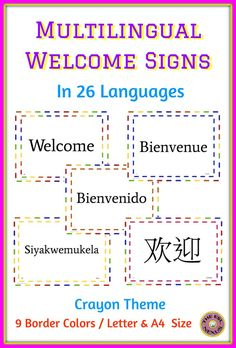 "Welcome parents at open houses and teacher conferences or welcome students back to school with these colorful posters in 26 different languages. Each language is on a different sign and they come in 8.5"" x 11"" Letter size and A4 paper size format.  The name of the language is included on each sign and a key to easily identify the languages is also provided. There are 9 different colored borders with a crayon theme -- perfect for the beginning of the school year!"