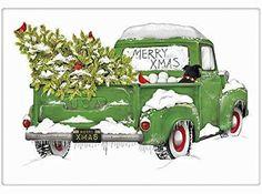 Vintage Green Christmas Tree Truck Cotton Flour Sack Dish Tea Towel - Mary Lake Thompson 30 x 30 306104105913238255 Merry Christmas, Christmas Truck, Christmas Door, Green Christmas, Christmas Ornaments, Christmas Ideas, Christmas Blocks, Christmas Labels, Christmas Travel