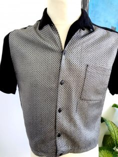 1950's Killer Black & Silver Lurex Shirt - Sz M - apeZoot, the market place where Vintage is CULTure!