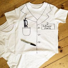 Making t-shirt lab coats for Miss 7's science party this weekend! One down, many…