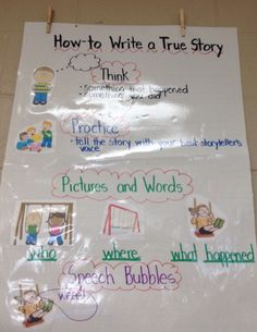 How to Write a True Story Narrative Writing Kindergarten, Kindergarten Names, Kindergarten Handwriting, Kindergarten Anchor Charts, Teaching Kindergarten, Writing Skills, Teaching Ideas, First Day Of School Activities, Writing Activities
