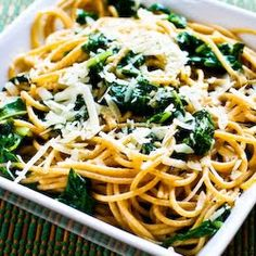 Recipe for Whole Wheat Spaghetti with Garlic, Chard, and Pecorino-Romano Cheese [from Kalyn's Kitchen]