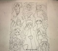 omg this is so much work let me tell ya. and btw I left the pencil lines because Im gonna continue inking some other parts so theyll get erased eventually - -qotd: which akatsuki member(s) is/are your fav? Naruto Drawings, Naruto Art, Naruto Uzumaki, Itachi, Akatsuki, Manga Art, Anime Art, Konan, Estilo Anime