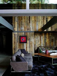 Remodel with reclaimed wood at Buff & Hensman house (architects of Case Study House #20) in LA's Nichols Canyon by Commune Design