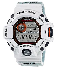The G-Shock Rangeman is a limited edition watch produced in collaboration with Burton Snowboards and Casio. It will be the first white Rangeman (though technically it's a very light gray which is often referred to as ice gray) Casio G-shock, Casio Watch, Casio G Shock Watches, Sport Watches, Watches For Men, Men's Watches, G Shock White, G Shock Limited, Survival Watch