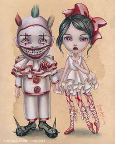 Twisty And Trixie LIMITED EDITION print signed numbered Simona Candini Art Freaks Clown Lowbrow pop Surreal American Horror Show Halloween