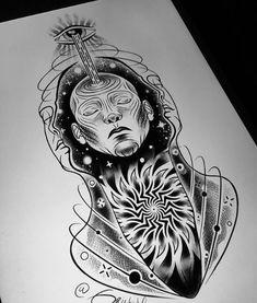 Ankle Tattoo Designs, Design Tattoo, Tattoo Design Drawings, Tattoo Sketches, Art Sketches, Psychedelic Tattoos, Psychedelic Art, Line Art Tattoos, Body Art Tattoos