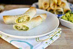 Cheesy Chicken and Cilantro Pesto Baked Flautas
