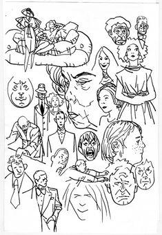alex toth doodle page with captain marvel Comic Art