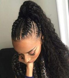 Stunning Fulani Braids Hairstyles For Black Women To Copy For Christmas - - Braided ponytail - Weave Ponytail Hairstyles, Braided Hairstyles For Black Women, Ponytail Styles, African Braids Hairstyles, Braids For Black Hair, Braid Styles, Diy Hairstyles, Curly Hair Styles, Natural Hair Styles