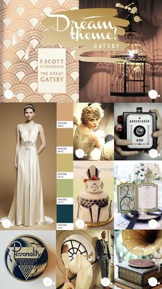 Dream Theme Diaries - The Great Gatsby wedding inspiration by Paperknots by Molly-Millions Great Gatsby Prom Theme, Great Gatsby Fashion, The Great Gatsby, 1920 Theme, 1920s Wedding, Art Deco Wedding, Wedding Themes, Wedding Ideas, Prom Themes