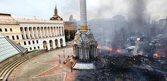 A Praça da Independência em Kiev (Ucrânia) antes e durante dos confrontos em fevereiro de 2014