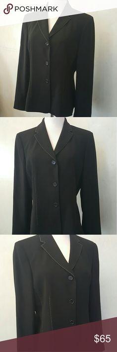 Ann Taylor black white stitch blazer Ann Taylor black blazer with white detailed stitching.  In perfect condition. Ann Taylor Jackets & Coats Blazers