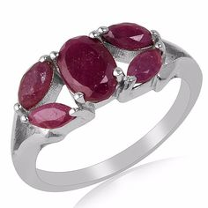 1.32ct Ruby Five Stone Designer Ring 925 Sterling Silver Valentine Gift Jewelry #Unbranded #FiveStone #ValentinesDay