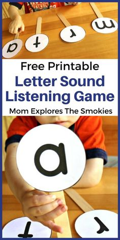 This letter sounds listening game is a great way to practice the early literacy skill of matching letters to letter sounds. Phonics Activities, Kids Learning Activities, Alphabet Activities, Toddler Learning, Learning Activities For Kids, Preschool Alphabet, Games For Preschoolers, Alphabet Learning Games, Preschool Phonics