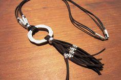largo de la eternidad collar, collar de cuero de anillo de plata, collares…