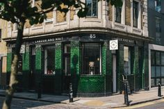 Labour and Wait green glazed tile facade Cafe Exterior, Restaurant Exterior, Corner Restaurant, Labour And Wait, Tiles London, Store Front Windows, Restaurant Identity, Glazed Tiles, Front Gates
