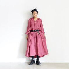 ichiAntiquités 700302 Color Linen Shirt Dress /...