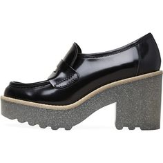 Acne Studios Taurus Glitter Sole Loafer (1.260 BRL) ❤ liked on Polyvore featuring shoes, loafers, penny loafer shoes, black platform shoes, platform loafers, shiny black shoes and leather platform shoes