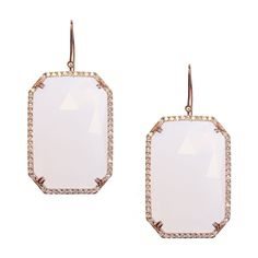 Tina Earrings Rose Gold White Quartz