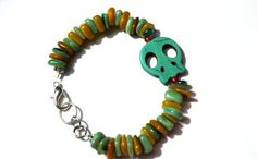 Turquoise Green and Amber Sugar Skull and by EmmasJewelChest, $11.00