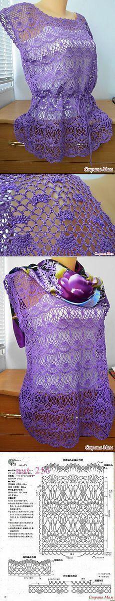 Ажурная туника » В сети – себя просвети! [] # # #Crochet #Dresses, # #Crochet #Clothes, # #Summer #Tops, # #Blouse, # #Crochet #Top, # #Cardigans, # #Tricot #Crochet, # #Blusas #Crochet, # #Boleros