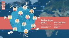 A creative video template for an expo event. A background illustration of people connecting on a globe with technology expo also included.
