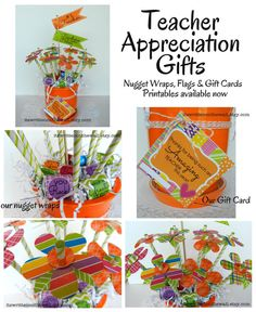 Teacher Appreciation Printable Package-Instant Download-See What we made using our Nugget Wraps, Flags & Gift Cards-Teacher will love it!