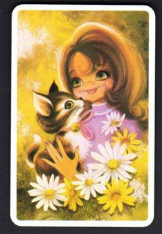 JOY Swap Card Girl With Kitten Blank Back Excellent Condition | eBay