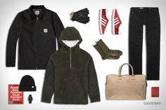 Aimé Leon Dore Sherpa Hoodie ($300). Carhartt Detroit Jacket ($205). AG Jeans Matchbox Denim ($180). Adidas Gazelle OG Sneakers ($95). Norse Projects Beanie ($55). Norse Projects Socks ($25). Yeezy Holdall Duffel Bag ($1,040). 38Hours Travel Guide - Amsterdam ($11). IWC...