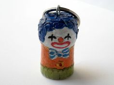 Circus clown colorful keyring hand painted recycled cork